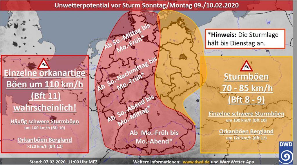 Warnkarte des Deutschen Wetterdienstes zum Orkantief Sabine