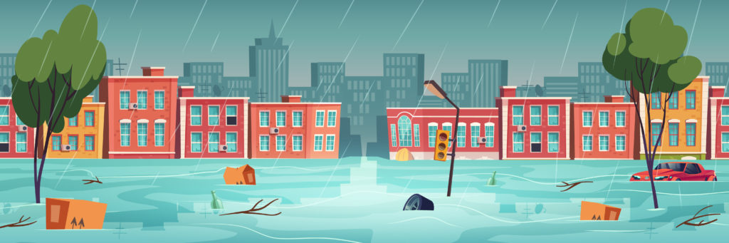 Flood in town, river, water stream on city street. Natural disaster with rainstorm. Vector cartoon illustration of urban landscape with flooded houses, floating car and garbage on road